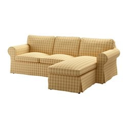EKTORP two-seat sofa and chaise longue, Skaftarp yellow Width: 252 cm Min. depth: 88 cm Max. depth: 163 cm