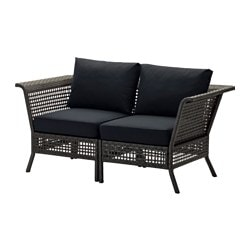 KUNGSHOLMEN 2 Seat Sofa, Outdoor, Black Brown, Black Kungsö Black Width ? Part 36