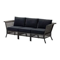KUNGSHOLMEN sofa, outdoor, black-brown, black Kungsö black