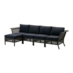 "KUNGSHOLMEN /  KUNGSÖ 4-seat sofa with footstool, outdoor, black-brown, black Depth: 31 1/2 "" Height: 28 3/4 "" Width right: 111 3/4 "" Depth: 80 cm Height: 73 cm Width right: 284 cm"