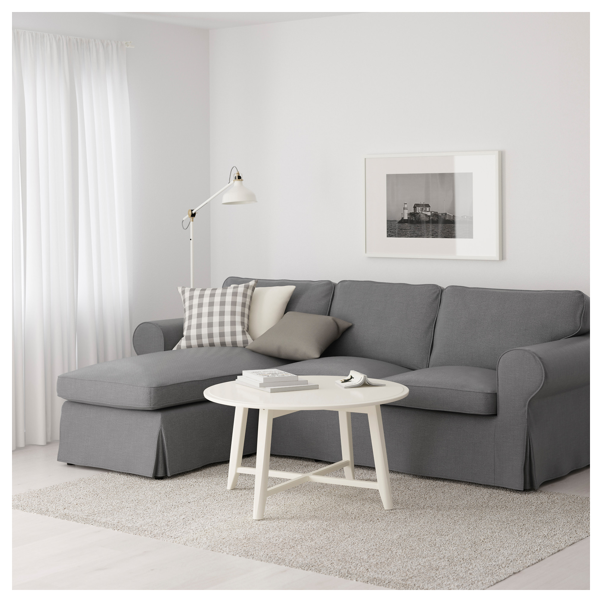 EKTORP Sofa   With Chaise/Nordvalla Light Blue   IKEA