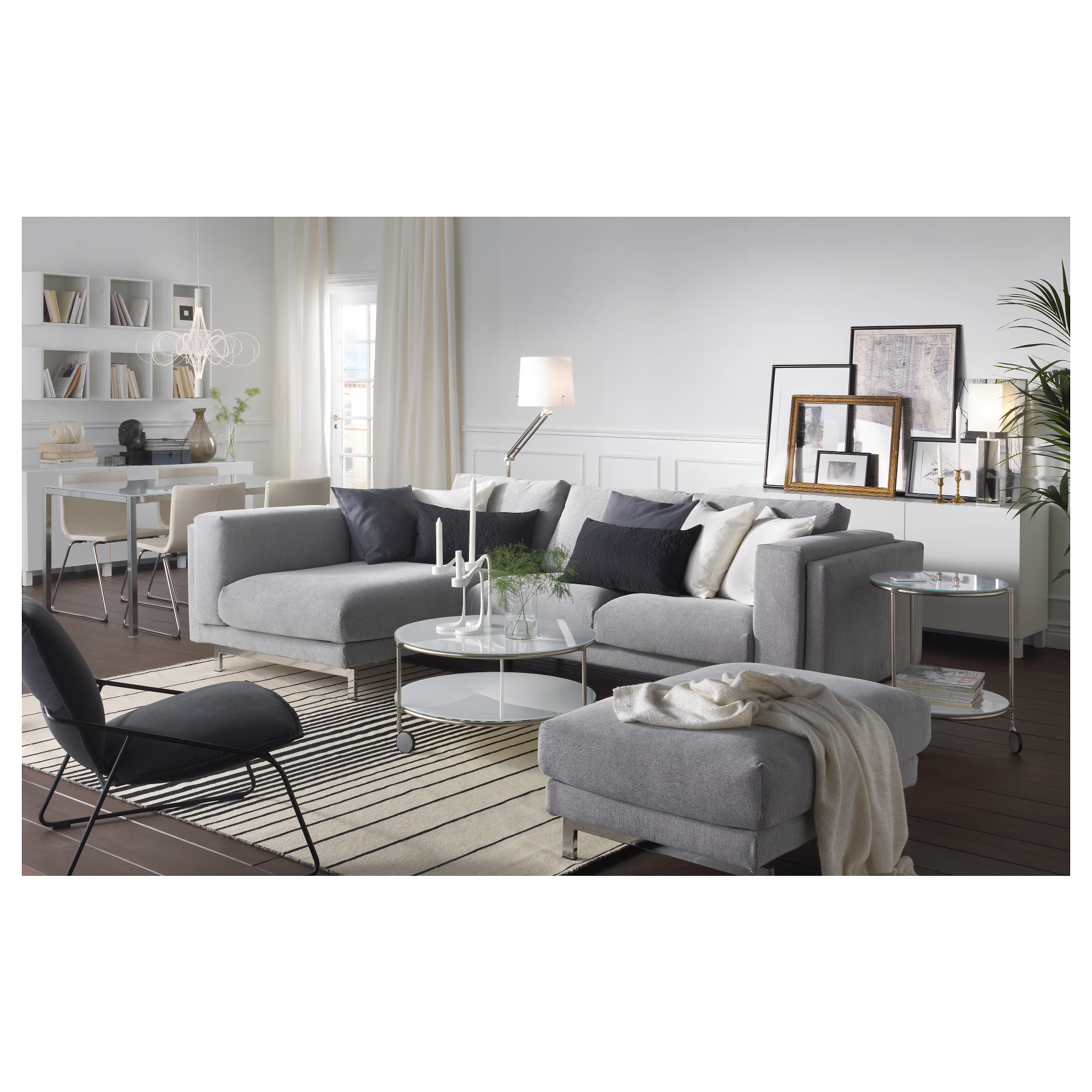 NOCKEBY Sofa - with chaise left/Tallmyra white/black chrome plated - IKEA  sc 1 st  Ikea : white and black sectional - Sectionals, Sofas & Couches