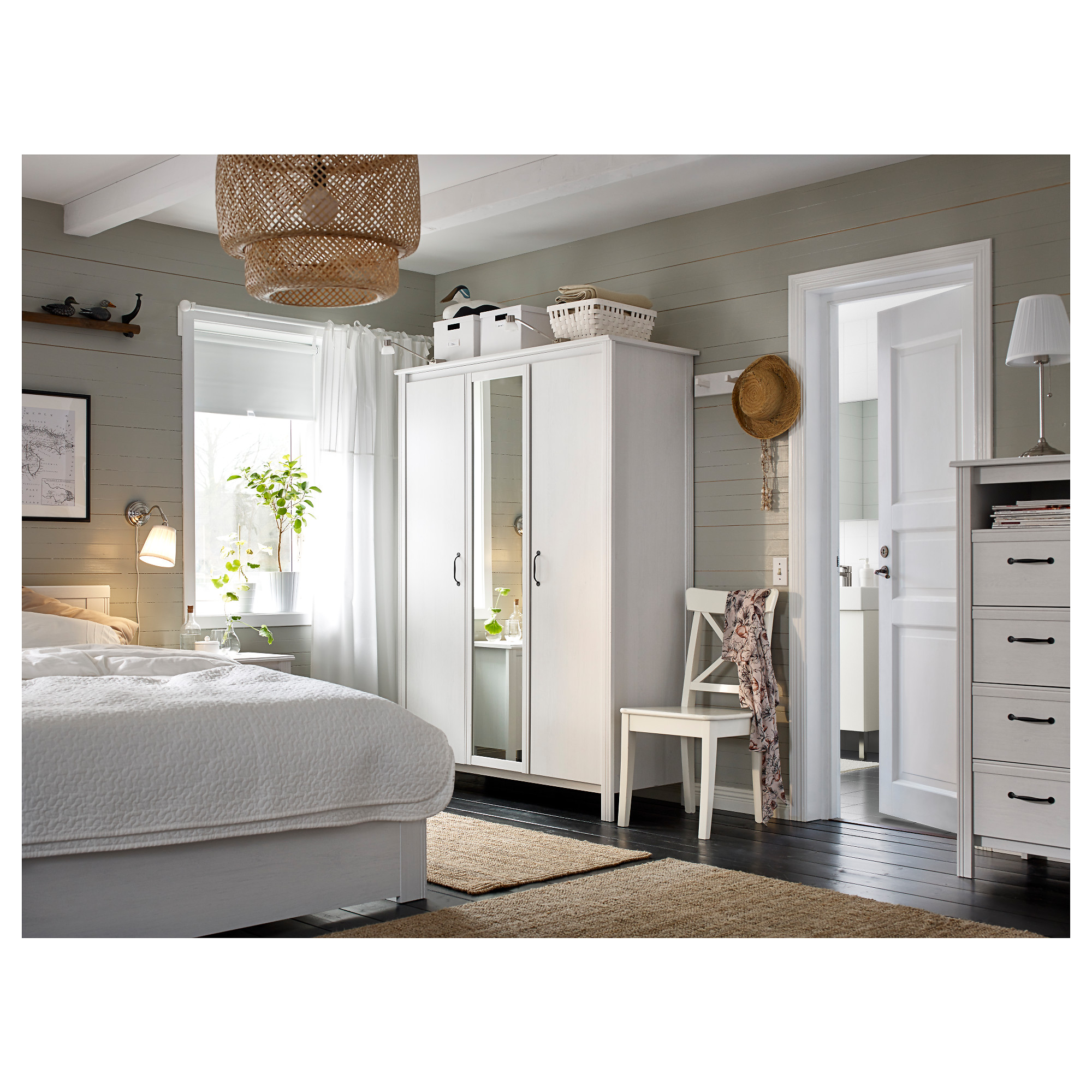 Bedroom Ideas Ikea brusali wardrobe with 3 doors - white - ikea
