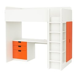 "STUVA loft bed with 3 drawers/2 doors, white, orange Height: 76 "" Bed width: 41 1/2 "" Bed length: 77 1/2 "" Height: 193 cm Bed width: 105.5 cm Bed length: 197 cm"