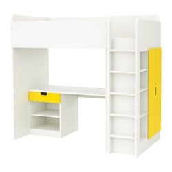 STUVA loft bed combo w 1 drawer/2 doors, white, yellow Height: 193 cm Bed width: 99 cm Bed length: 207 cm