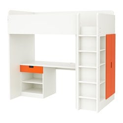"STUVA loft bed with 1 drawer/2 doors, white, orange Height: 76 "" Bed width: 41 1/2 "" Bed length: 77 1/2 "" Height: 193 cm Bed width: 105.5 cm Bed length: 197 cm"