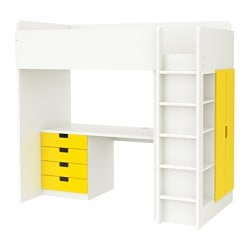 STUVA loft bed combo w 4 drawers/2 doors, white, yellow Height: 193 cm Bed width: 100.5 cm Bed length: 197 cm