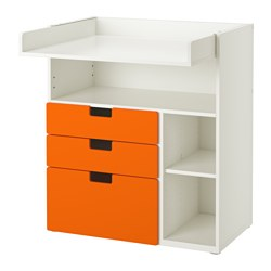 STUVA changing table with 3 drawers, white, orange Width: 90 cm Depth: 79 cm Height: 102 cm