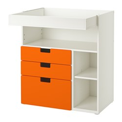 "STUVA changing table with 3 drawers, white, orange Width: 35 3/8 "" Depth: 31 1/8 "" Height: 40 1/8 "" Width: 90 cm Depth: 79 cm Height: 102 cm"