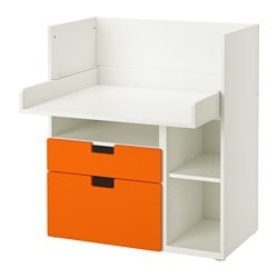 STUVA desk with 2 drawers, white, orange Width: 90 cm Depth: 79 cm Height: 102 cm