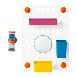 LÅDDAN 6-piece storage board set, with suction cups, assorted colours