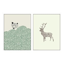 TVILLING poster, set of 2, Wild animals Width: 30 cm Height: 40 cm