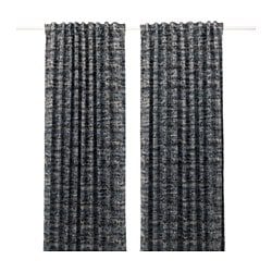 SOLIDASTER blackout curtains, 1 pair, black, multicolor