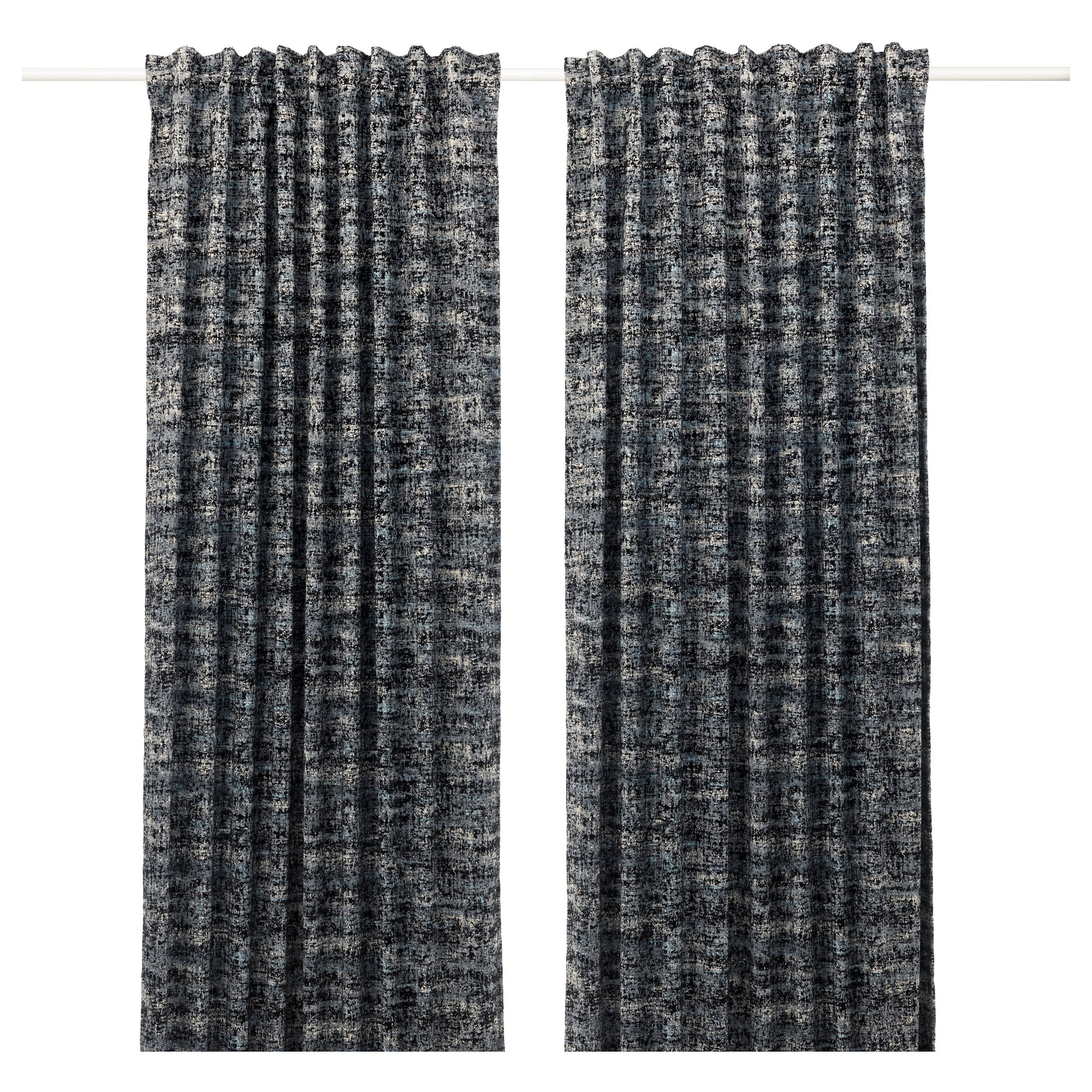 Black and white curtains - Solidaster Blackout Curtains 1 Pair Black Multicolor Length 98 Width