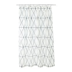 FÖLJAREN, Shower curtain, white black, gray