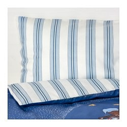 "SOVDAGS 4-piece bed linen set for crib, blue Duvet cover length: 49 1/4 "" Duvet cover width: 43 1/4 "" Pillowcase length: 21 5/8 "" Duvet cover length: 125 cm Duvet cover width: 110 cm Pillowcase length: 55 cm"