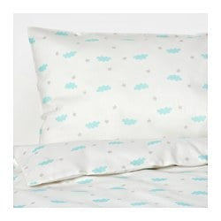 "HIMMELSK 4-piece bed linen set for crib, turquoise Duvet cover length: 49 1/4 "" Duvet cover width: 43 1/4 "" Pillowcase length: 21 5/8 "" Duvet cover length: 125 cm Duvet cover width: 110 cm Pillowcase length: 55 cm"