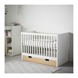 STUVA cot with drawers, birch Bed width: 60 cm Bed length: 120 cm