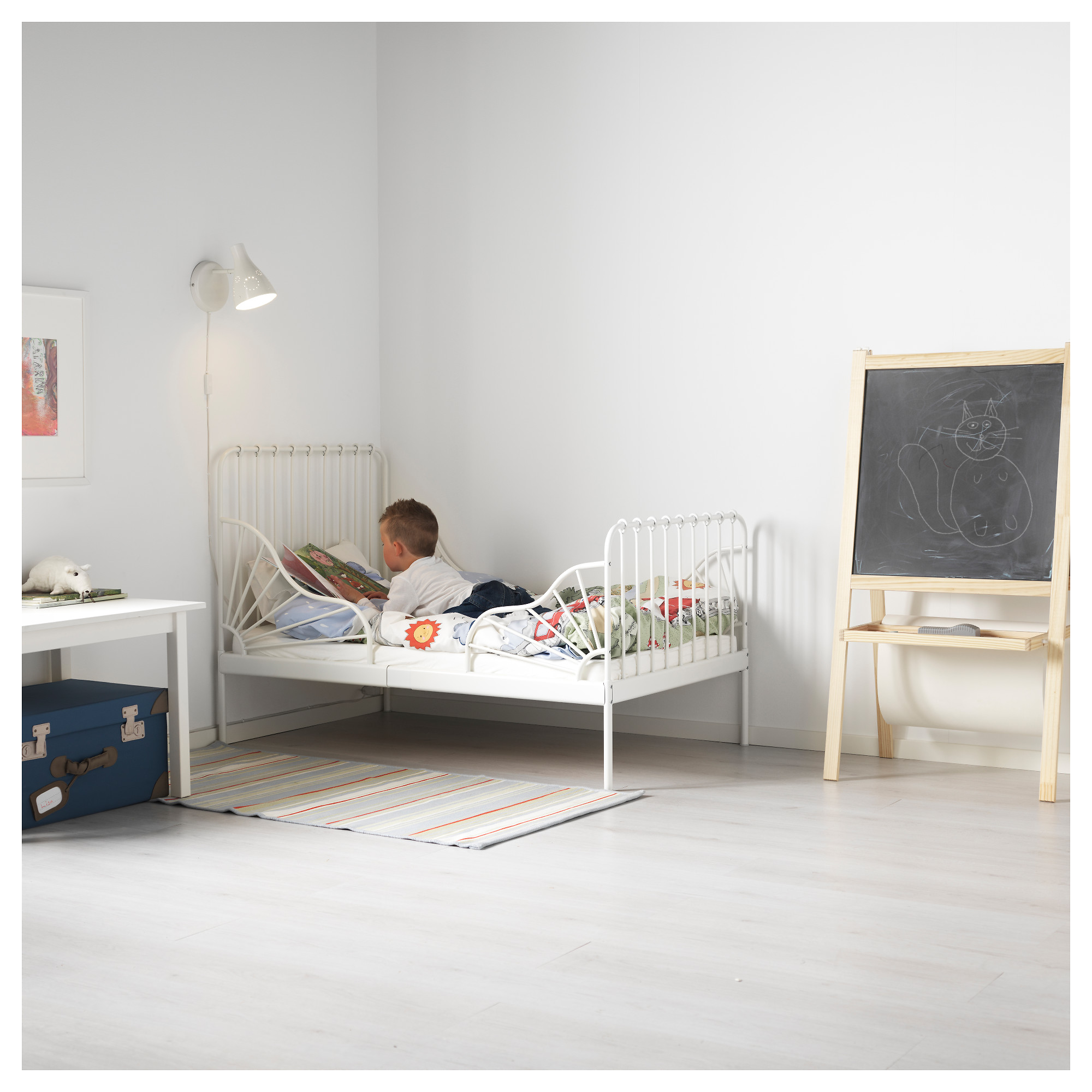 MINNEN Ext bed frame with slatted bed base IKEA