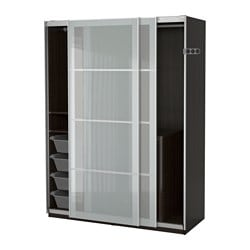 Superbe PAX Wardrobe, Black Brown, Sekken Frosted Glass