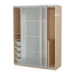 PAX wardrobe, white stained oak effect, Sekken frosted glass Width: 150 cm Depth: 66 cm Height: 201.2 cm