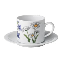"STRÖMLÖJA cup and saucer, floral patterned, white Saucer diameter: 6 "" Total height: 3 "" Cup height: 3 "" Saucer diameter: 15 cm Total height: 8 cm Cup height: 7 cm"
