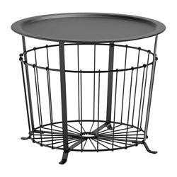 GUALÖV storage table, black Height: 47 cm Diameter: 60 cm