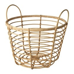 JASSA basket with handles, rattan Height: 66 cm Diameter: 70 cm