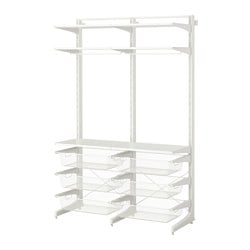 ALGOT post/foot/mesh baskets, white Width: 127 cm Depth: 47 cm Height: 194 cm