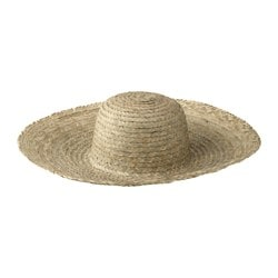 JASSA straw hat, palm leaf assorted colours Height: 18 cm Diameter: 41 cm