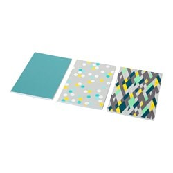 UPPFATTA note-book, assorted patterns, turquoise Length: 21 cm Width: 14.5 cm Surface density: 80 g/m²