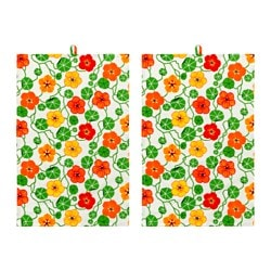 ELLICA tea towel, flower, multicolour Length: 70 cm Width: 50 cm Package quantity: 2 pack
