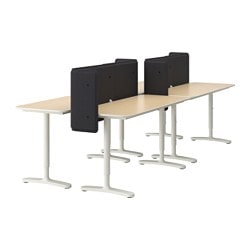 "BEKANT workstation, white, birch veneer Screen height: 21 5/8 "" Length: 110 1/4 "" Depth: 47 1/4 "" Screen height: 55 cm Length: 280 cm Depth: 120 cm"