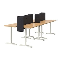 BEKANT desk combination, white, oak veneer Screen height: 55 cm Length: 280 cm Depth: 120 cm