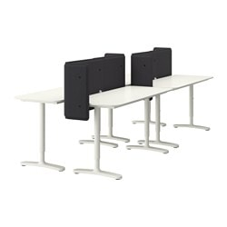 "BEKANT desk combination, white Screen height: 21 5/8 "" Length: 110 1/4 "" Depth: 47 1/4 "" Screen height: 55 cm Length: 280 cm Depth: 120 cm"