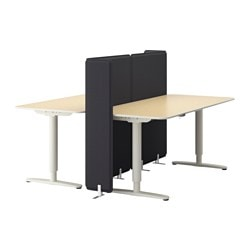 "BEKANT desk sit/stand with screen, birch veneer, white Screen height: 47 1/4 "" Length: 63 "" Width: 63 "" Screen height: 120 cm Length: 160 cm Width: 160 cm"