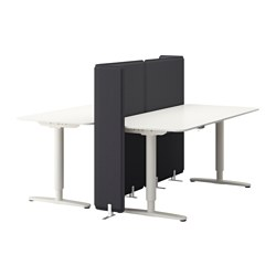 "BEKANT desk sit/stand with screen, white Screen height: 47 1/4 "" Length: 63 "" Width: 63 "" Screen height: 120 cm Length: 160 cm Width: 160 cm"