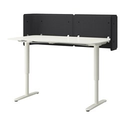 BEKANT reception desk sit/stand, white Screen height: 55 cm Length: 160 cm Width: 80 cm
