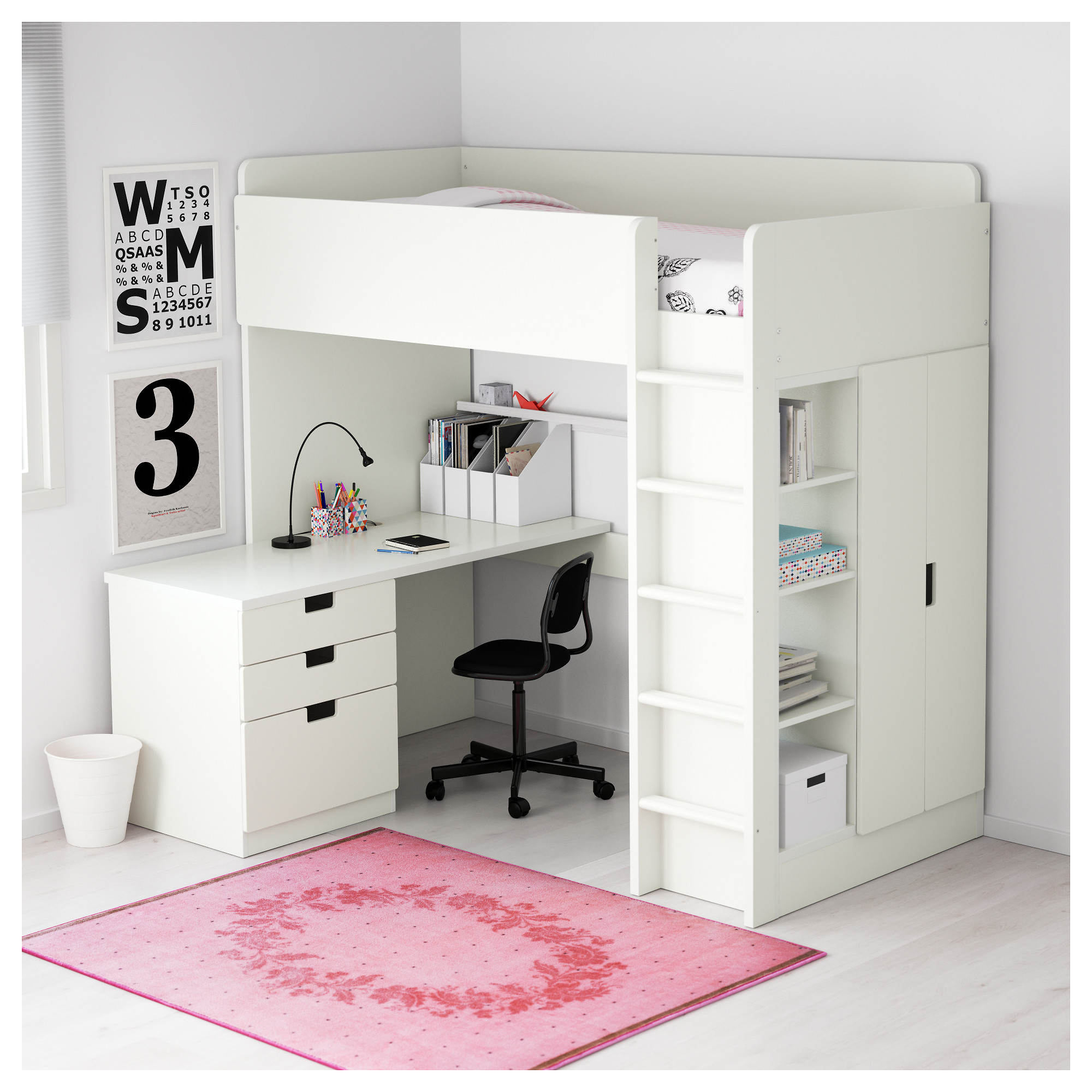 STUVA Loft bed with 3 drawers/2 doors - white - IKEA