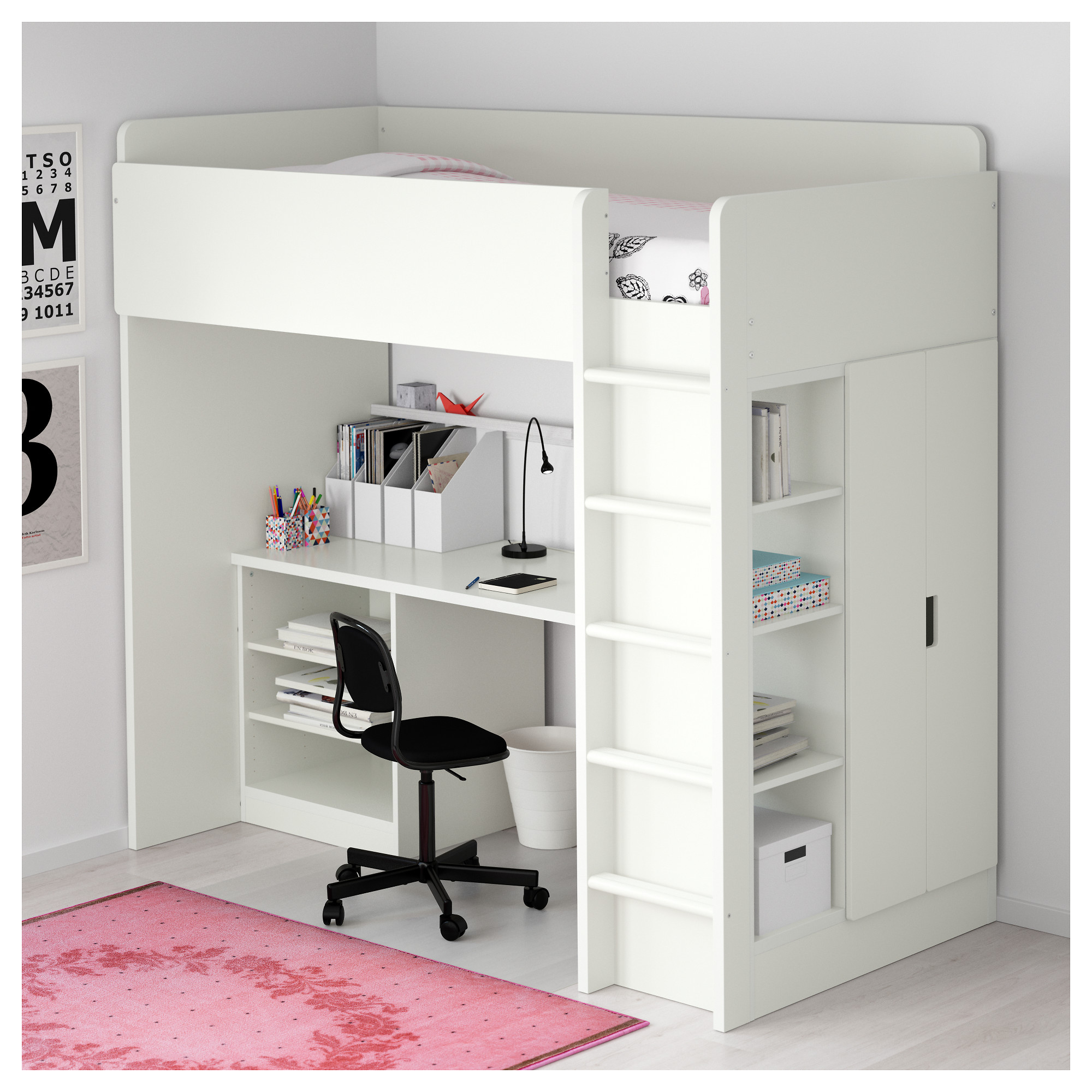 Hochbett ikea tromsö  STUVA Loft bed with 2 shelves/2 doors - white/pink - IKEA