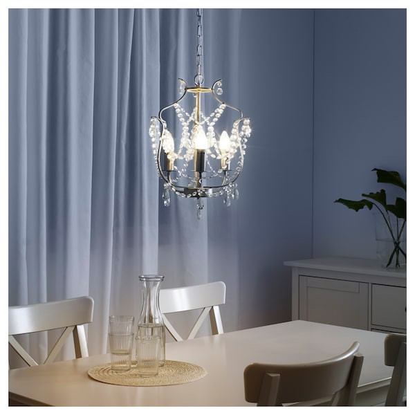 Lampadario Ikea Ps 2019.Kristaller Chandelier 3 Armed Silver Colour Glass Ikea