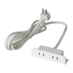 KOPPLA 2-way socket-outlet, unearthed white Cord length: 1.8 m