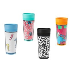 SPRIDD travel mug, assorted patterns Height: 19 cm Volume: 35 cl