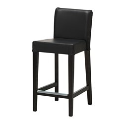 HENRIKSDAL, Bar stool with backrest, brown-black, Glose black