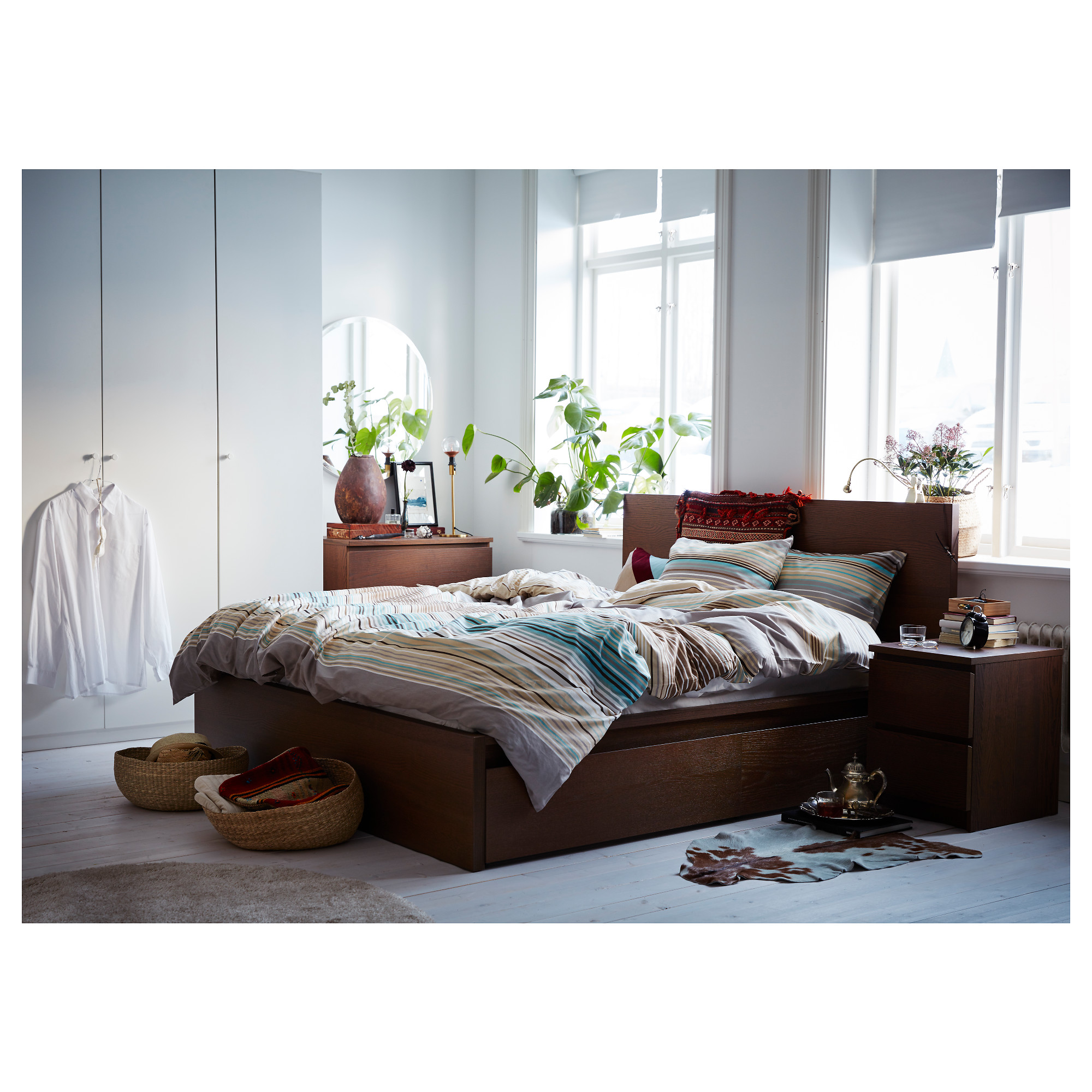 Bed Frames With Storage Drawers malm high bed frame/2 storage boxes - queen, luröy - ikea