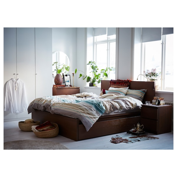 IKEA MALM High bed frame/2 storage boxes