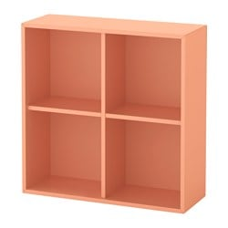 EKET cabinet with 4 compartments, light orange Width: 70 cm Depth: 25 cm Height: 70 cm