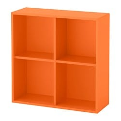 "EKET cabinet with 4 compartments, orange Width: 27 1/2 "" Depth: 9 7/8 "" Height: 27 1/2 "" Width: 70 cm Depth: 25 cm Height: 70 cm"