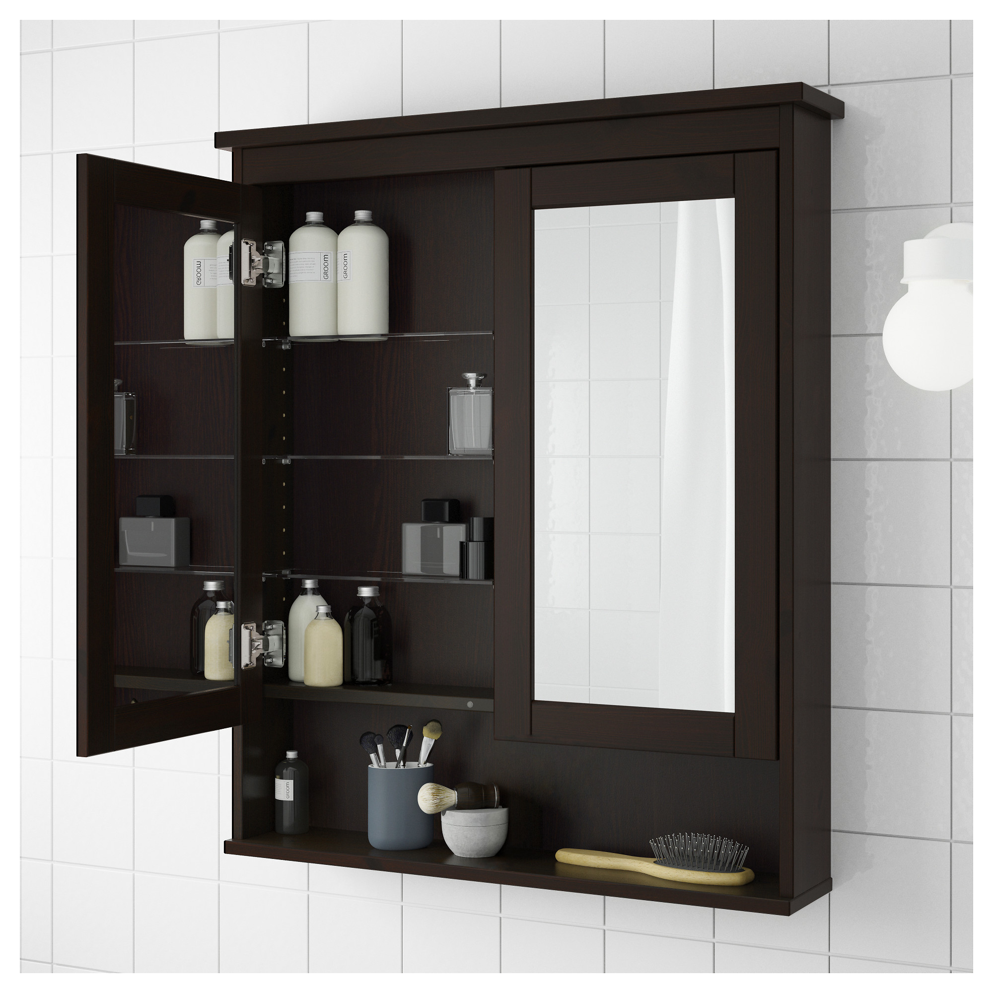 Hemnes Mirror Cabinet With 2 Doors Black Brown Stain 32 5 8x6 1 4x38 8 Ikea