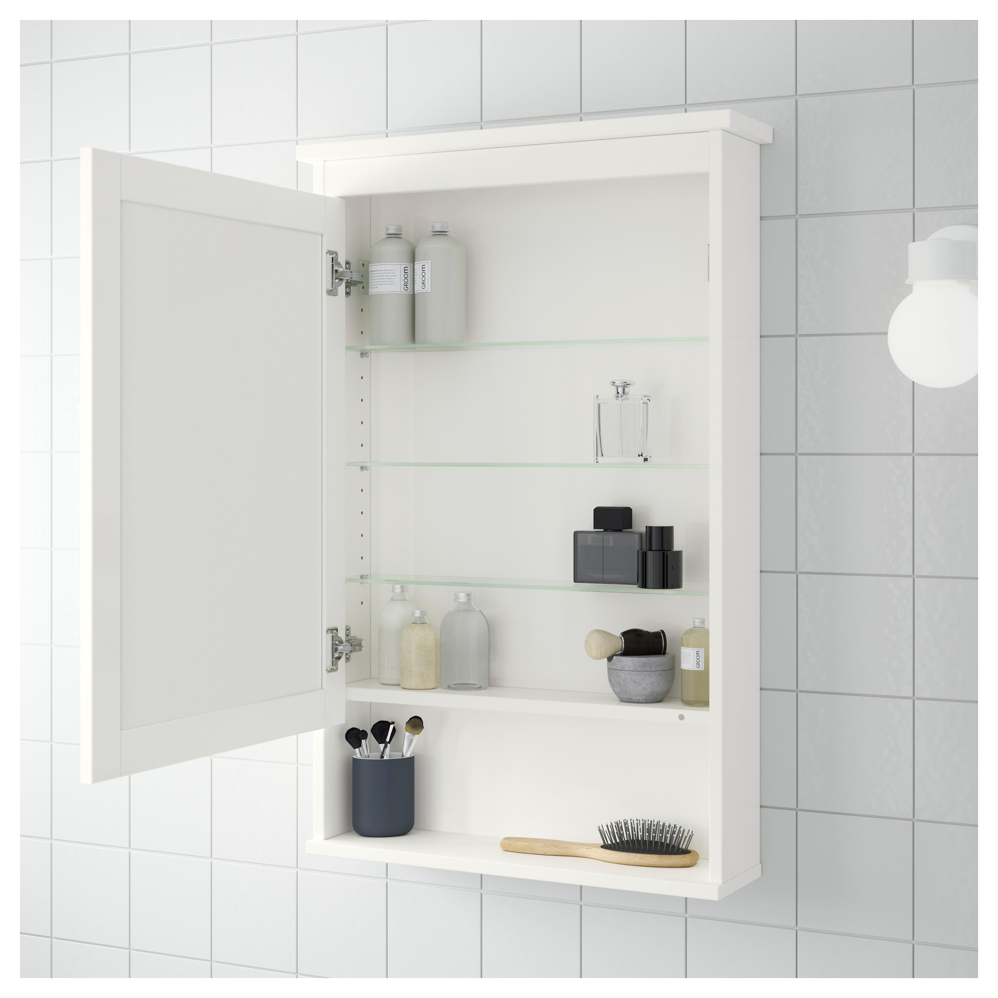HEMNES Mirror cabinet with 1 door - white - IKEA
